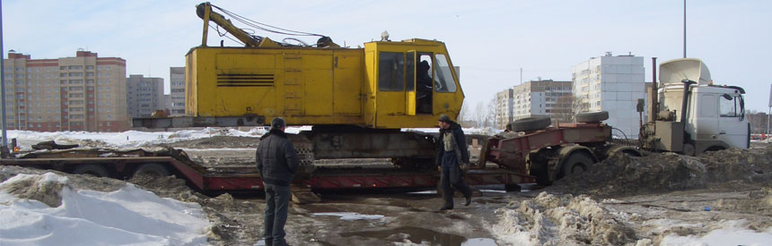 Перевозка крана ДЭК-251 на трале WITZCO RG-50